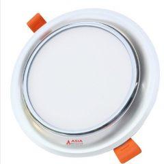 Đèn LED âm trần mặt cong viền bạc 3 màu 9W